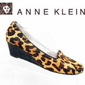 Anne Klein Women Animal Print Calf Hair Wedges 7.5